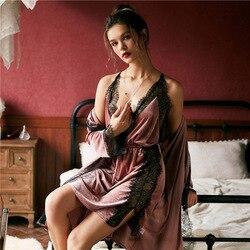 JULYS SONG Fashion Autumn and Winter Women Pajamas Set Sexy Lace Sling Velvet Robe Gown Set Women Sleepwear Nightdress