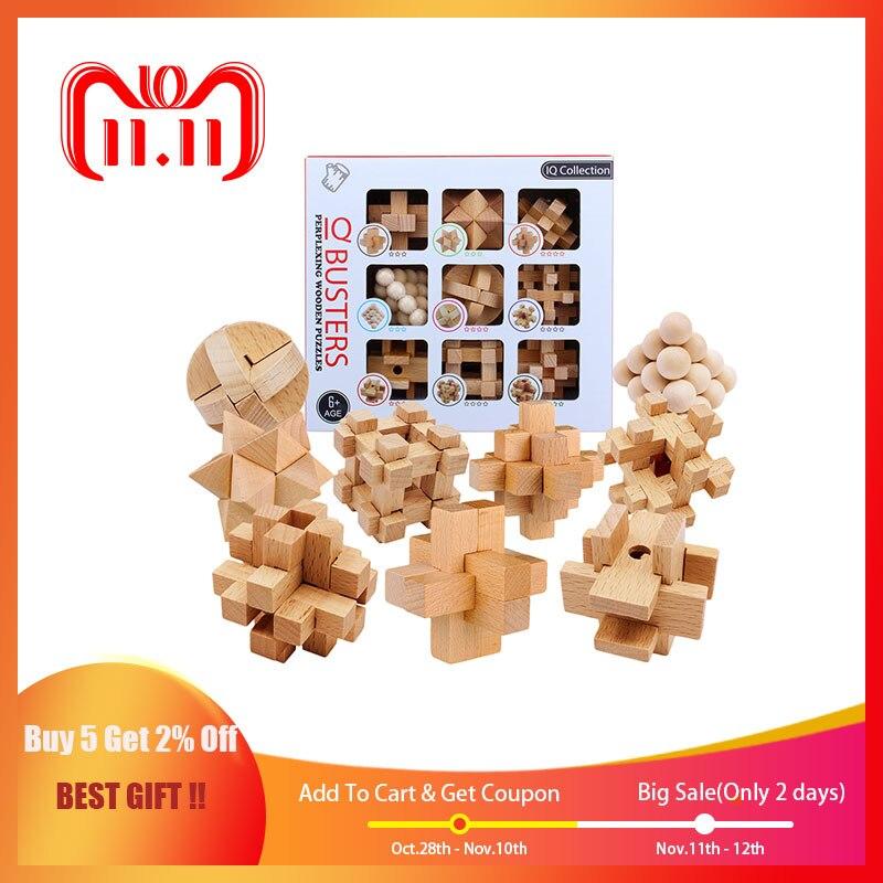 9 pièces/ensemble hêtre 3D fait à la main vintage Ming serrure Luban serrure en bois jouets adultes puzzle enfants jouet éducatif adulte cadeau de noël