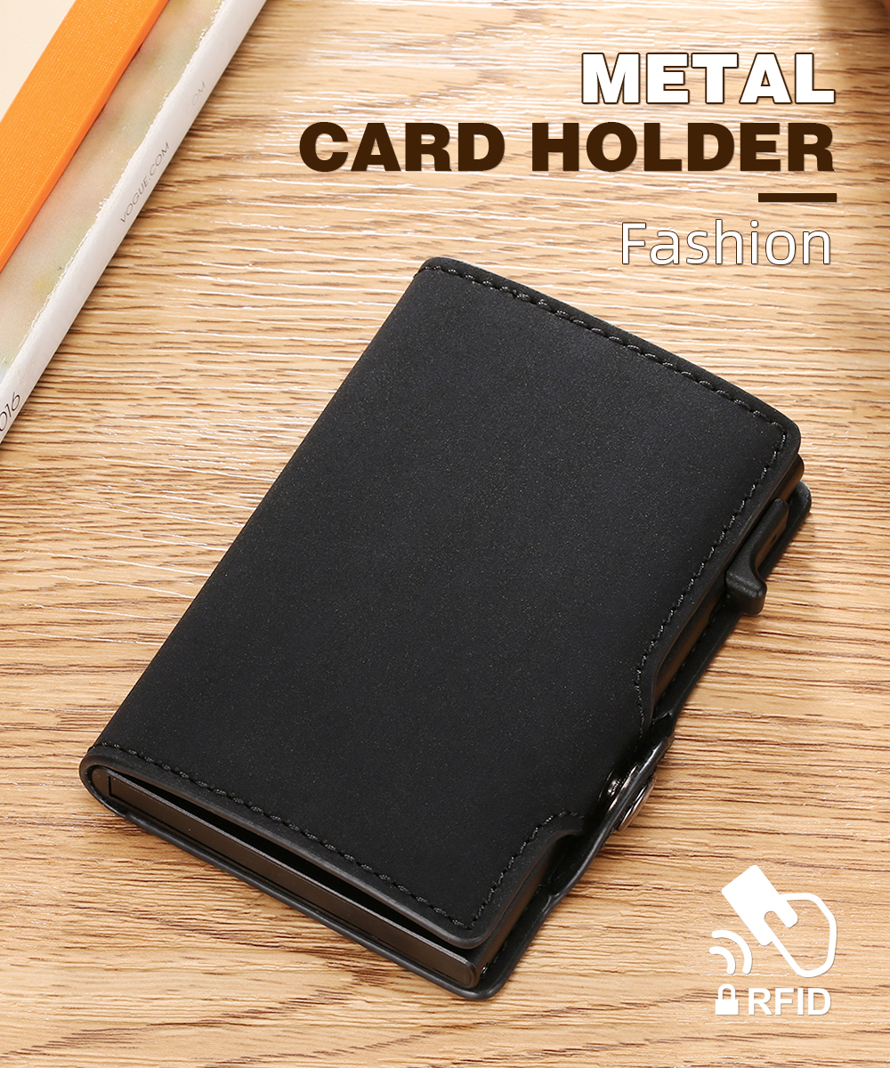 H2b1d8bb5f0c04bca83788433f7128c3c5 - BISI GORO Single Box Card Holder PU Leather Card Wallet New Men RFID Blocking Aluminum Smart Multifunction Slim Wallet Card Case
