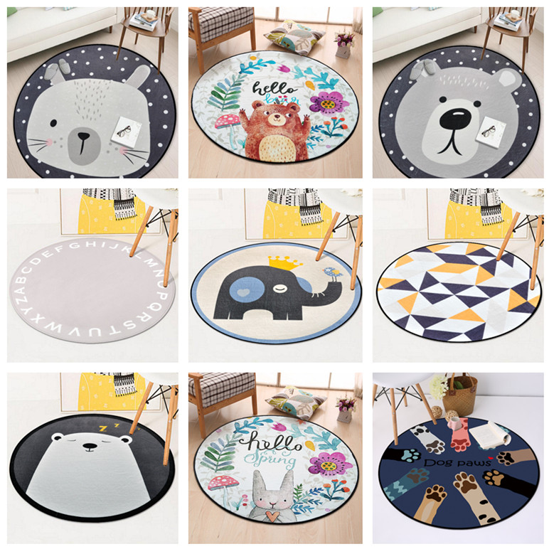 European Geometric Baby Round Carpet For Living Room Children Bedroom Rugs And Carpets Computer Chair Floor Mat Cloakroom Carpet