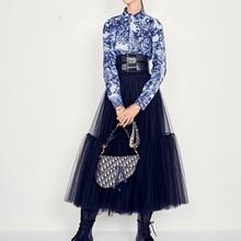 Юбки Женские Подиумные роскошные черные юбки модные Бальные юбки с эластичной талией сетчатые юбки длинная вуаль макси юбки Jupe Longue