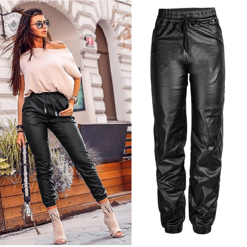 Streetwear Pu Leather Harem Pants New 2019 Women Plus Size Black High Waist Loose Trousers Winter Sale Items Free Shiping
