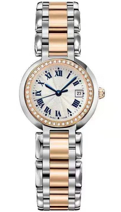 Luxury Brand New Women Rose Gold Silver White Rome Japanese Quartz Stainless Steel Sapphire Lady Watch 26mm Diamond Bezel AAA+