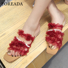 FOREADA Flat Slippers Lace Square Toe Shoes Fashion String Bead Slippers Sweet Narrow Band Lady Sandals Summer Red Black Apricot apricot contrast point toe pu heeled slippers