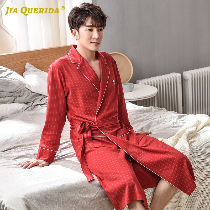 Luxury Men's Robe Soft 100% Cotton Men Bathrobe Robes Red Long Sleeves Belts Turn-down Collar Japanese Kimono Elegant Men Robe