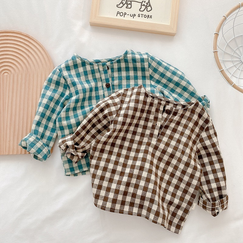 Baby Girls Clothes  2021 Spring New Loose Casual Plaid Shirt Newborn Baby Clothing Cotton Long Sleeve Blouse Outfit Kids Costume