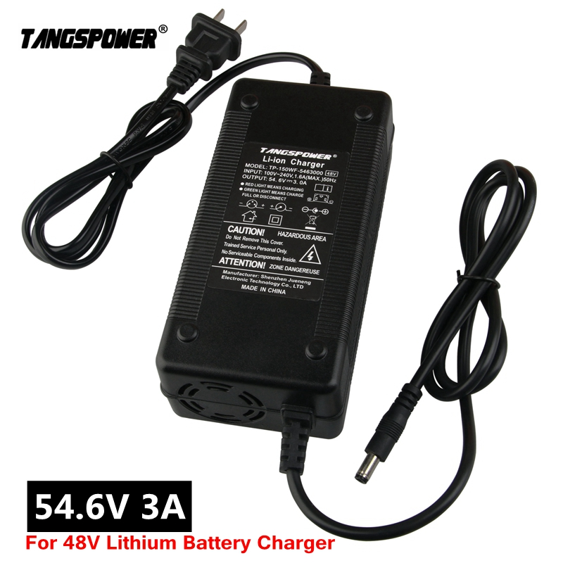 Зарядное устройство TANGSPOWER для литиевых аккумуляторов 54,6 В, 3 А, В, 3 А, электрическое Велосипедное зарядное устройство для 13S, 48 В, зарядное уст...