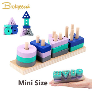 Wooden Montessori Toy Building Blocks Early Learning Educational Toys Color Shape Match Kids Toy for Boys Girls 2Y+ Mini Size