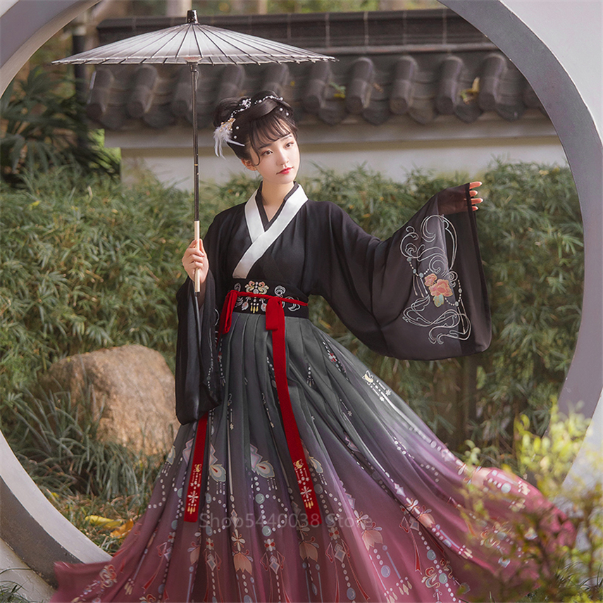 New <font><b>Women</b></font> Hanfu Traditional Chinese Clothing <font><b>Festival</b></font> <font><b>Outfit</b></font> Embroidery Ancient Folk Stage Performance Dance Costumes image
