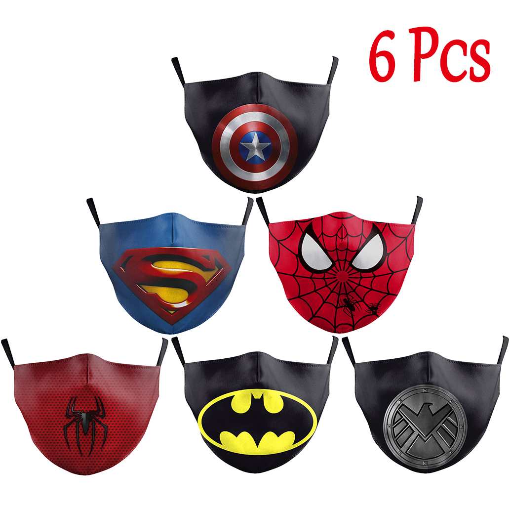 NADANBAO 6 Pcs Sets Superhero Kids Adult Mask Superman Captain  Print Face Masks Reusable Children Mask Fabric Dust Mask