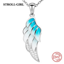 Authentic 925 silver angel's wing chain pendant necklace with gradient blue enamel diy fashion jewelry making for women gift ztung gop9 for us fashion ziron flowers pendant send with white and blue material 925 silver chian for women wonderful gift