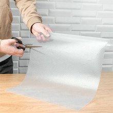1pc Clear Waterproof Oilproof Shelf Cover Mat Drawer Liner Cabinet Non Slip Table Adhesive Kitchen Cupboard Refrigerator 45*150