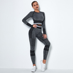 Women Suits Gym Outfits Long Sleeve Shirt Sport Top Bras Seamless Leggings Shorts Workout Running Clothing Gym Wear 2 Pcs/Set