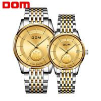 DOM Luxury Couple Watch Golden Fashion Stainless Steel Lovers Watch Mechanical LuxurWrist Watches Women Men Analog Wristwatch