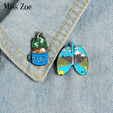 EXPLORE Forest Lung Enamel Pins Custom Organ Mug Cup Brooches Lapel Pin Shirt Bag Adventure Camping Badge Jewelry Gift Friends(China)