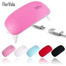 6W Mini LED/UV Lamp USB Plug Mouse Type Pink Black White Red Sky Blue Foldable Lamp For UV Gel Polish Nail Dryer Machine все цены