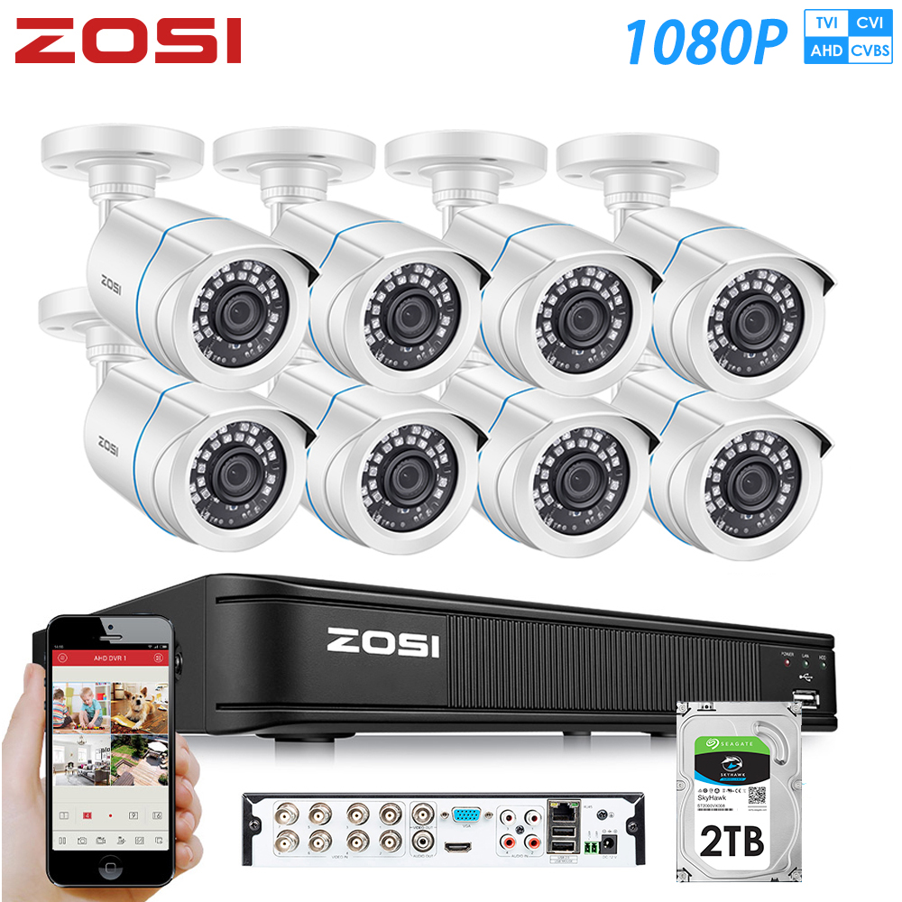 ZOSI 8CH 1080P 4-in-1 CVBS AHD CVI TVI Video Security System CCTV DVR Outdoor Weatherproof Surveillance Security Camera HDD