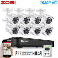 ZOSI 8CH 1080P 4 in 1 CVBS AHD CVI TVI Video Security System CCTV DVR Outdoor Weatherproof Surveillance Security Camera HDD