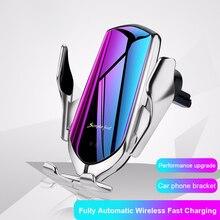 R1 Automatische Spann 10W Drahtlose Ladegerät Auto Halter Smart Infrarot Sensor Qi GPS Air Vent Halterung Handy Halterung stehen