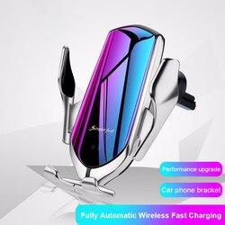 R1 automático de fixação 10 w carregador sem fio titular do carro inteligente sensor infravermelho qi gps ventilação ar montar suporte do telefone móvel