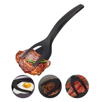 Silikonowa szpatułka jajko sadzone łopatka 2-In-1 jajo silikonowe Turner naleśnik chleb sprzęt do grillowania łopata szczypce do żywności Grip i Flip tanie i dobre opinie Miarki