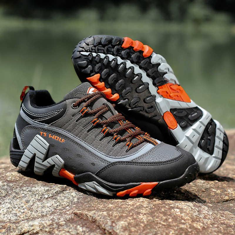 Mens Summer Walking Hiking Trail Waterproof camping hunting work shoes Gray