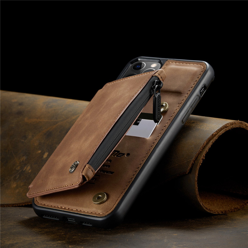 Luxury Retro Fashion Leather Zipper Wallet Flip Phone Case For iPhone 12 Mini