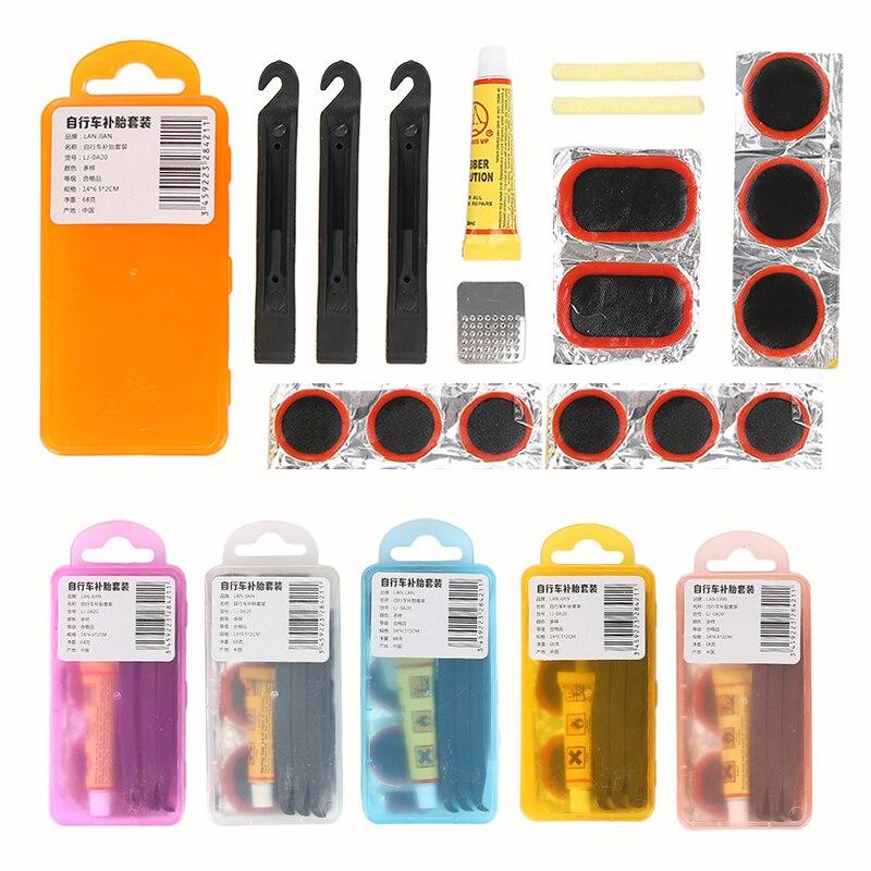 1 Set Mountain Bike Repair Tools Bicycle Tire Repair Rubber Patch Glue Lever Set Multi-Purpose Emergency Tire Fix Repair Kit