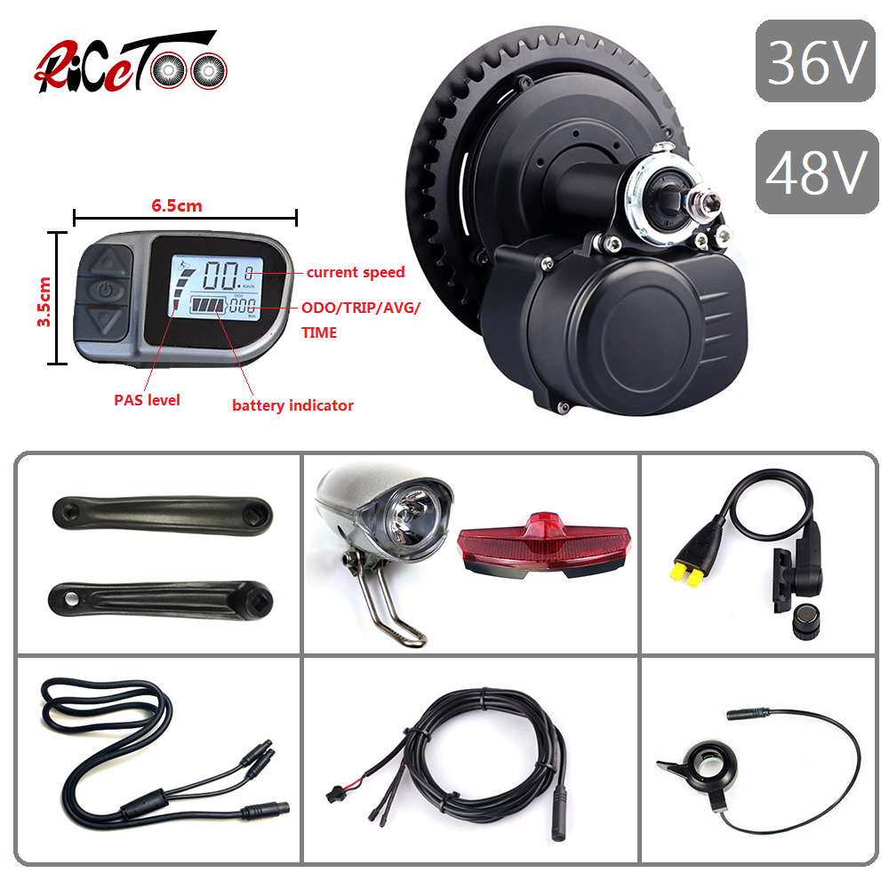 RICETOO Tongsheng TSDZ2 <font><b>36V</b></font>/48V 250W 350W 500W E-bike Mid Drive <font><b>Motor</b></font> Torque Sensor Electric Bicycle Kit with VLCD6 Display image