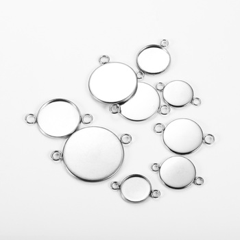 20pcs/lot 6mm-25mm Stainless Steel Round Double Loop Pendant Base Cabochon Tray For Bracelet Jewelry Accessorie