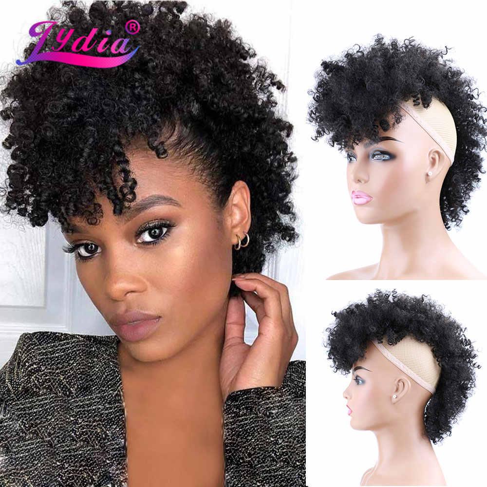 Lydia Sintetis Tinggi Puff Afro Pendek Keriting Keriting Tengah Bagian Wig Klip Di Rambut Ekstensi Afrika Amerika 90 G/pc sopak