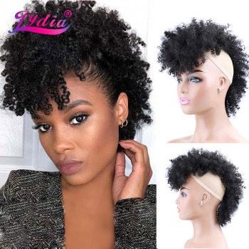 Lydia Synthetic High Puff Afro Short Kinky Curly Middle-Part Wig Clips in Hair Extension African American 90g/PCS Hairpiece - discount item  43% OFF Synthetic Hair