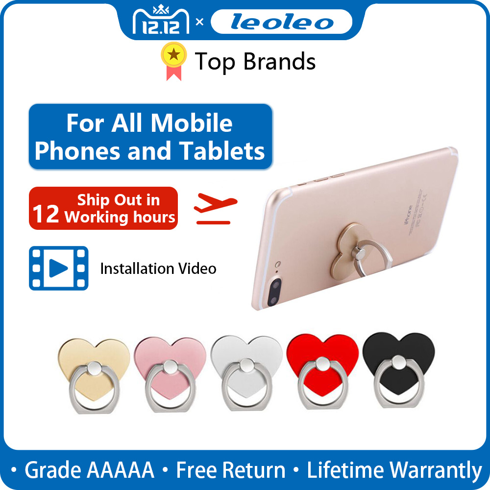 Leoleo Heart Of Love 360 Rotating Finger Ring Stand Holder Socket For IPhone X XR XS Max 8 7 6 Plus For Samsung S10 S9 S8 Plus