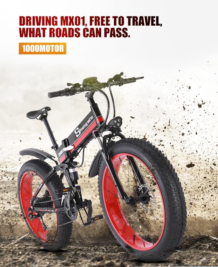 Vélo électrique vélo de neige gros pneu 26 pouces moto e vélo 1000w 48v vélo pliant électrique sheng milo montagne adulte vélo