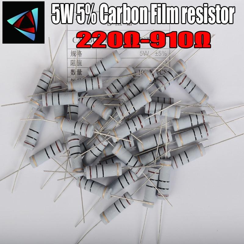 5 pièces 5W 5% résistance de Film de carbone 1R ~ 1M 220 240 270 300 330 360 390 430 470 510 560 620 680 750 820 910 ohm