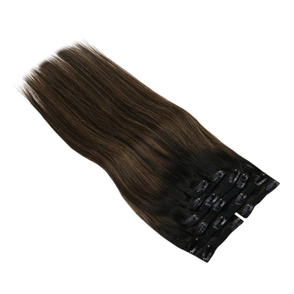 VeSunny Clip In Hair Extensions Human Hair 120gr Double Weft Clip Hair Balayage Ombre Highlights Natural Black Mix Brown 1B/6/1B