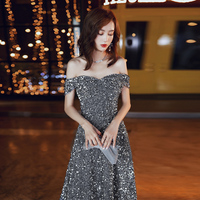 New Evening Dress Gray Sequins Long Off The Shoulder Fashion Prom Dress A Line Temperament Elegant Queen Party Evening Gowns