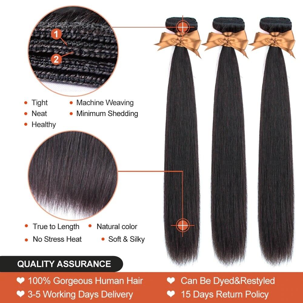 BEAUDIVA Pre-Colored Human Hair Weave Peruvian Straight Hair Medium Brown 4# Color 10-24inch Hair Bundles 3pcs/lot Peruvian Hair