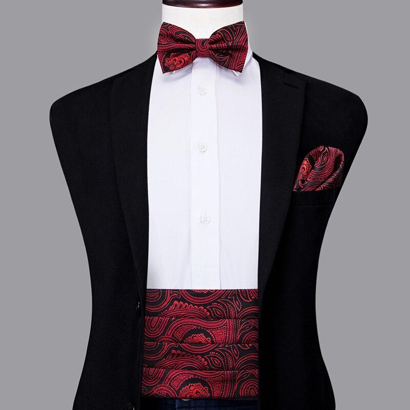 YF-2006 Hi-Tie Silk Men's Wedding Red Floral Paisley Cummerbund Bow Tie Pocket Square & Cufflinks Set Formal Tuxedo Corset Belt