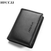 цена на NEW Genuine Leather Men Wallet Brand Luxury Leather Wallets Office Male Wallet Mature Men's Bifold Wallet Small Purse HC170