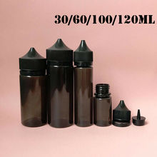 5pcs 30ml/60ml/100ml/120ml Empty Black PET e juice Bottle Vape Dropper Bottles Childproof Cap liquid Cig Oil fill Containers