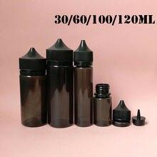 5pcs 30ml/60ml/100ml/120ml ריק שחור PET דואר מיץ בקבוק Vape בקבוקים טפטפת מובטח בפני ילדי כובע נוזל סיגריה שמן מלא מכולות