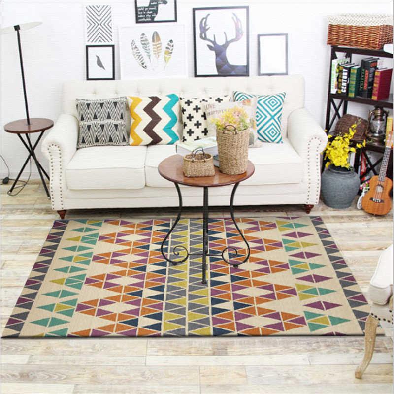 Alfombra de suelo antideslizante y antiarrugas estilo étnico europeo alfombra para sala de estar alfombra de dormitorio