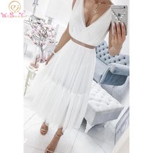 White V Neck Tulle Prom Dress Two Pieces 2020 Sleeveless A L