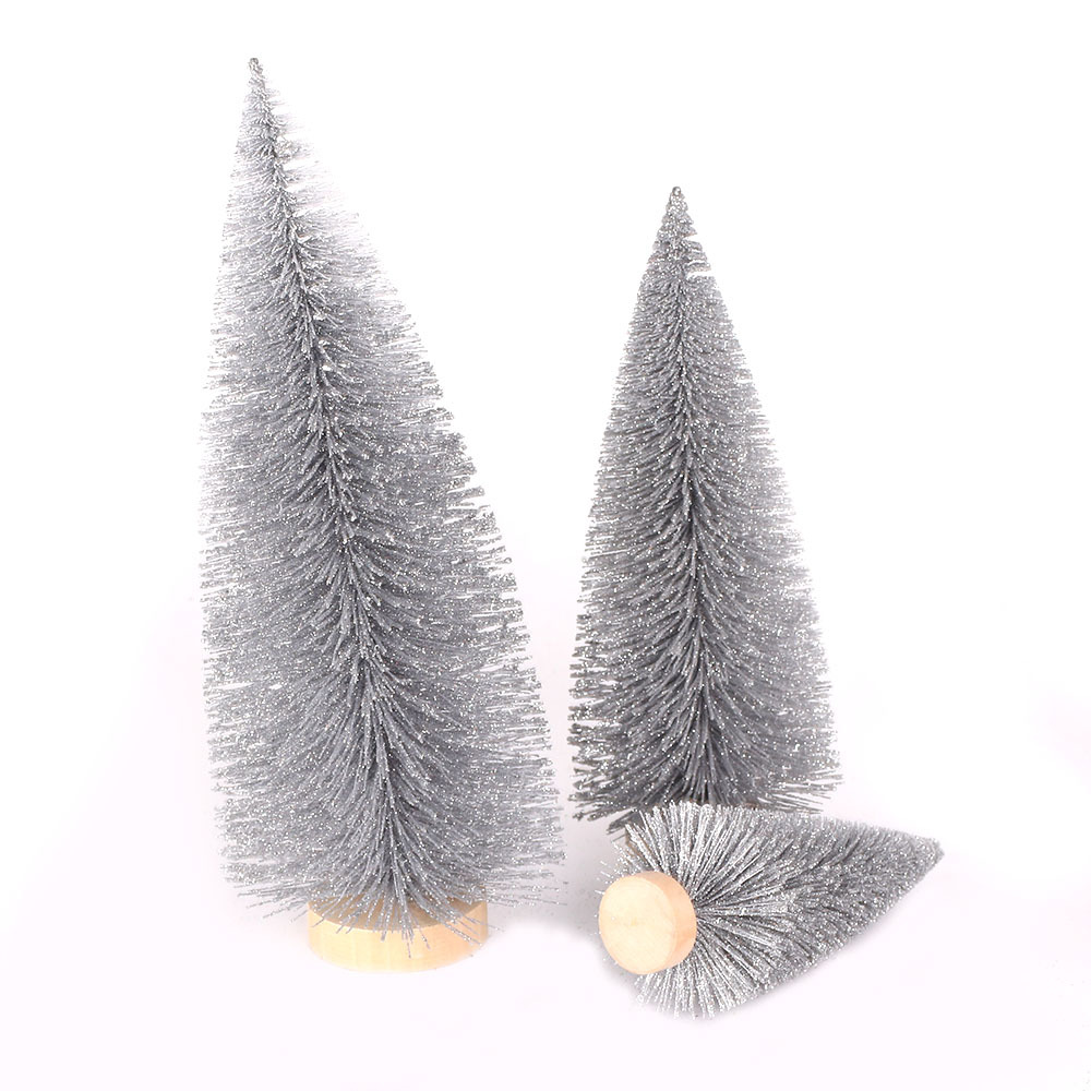 New Style Christmas Decorations Christmas Desktop Furnishings Gray Pine Needle Dusting Powder Mini Small Christmas Tree