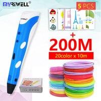 Myriwell 3d 펜 3d 손잡이 RP-100A pla 1.75mm 아 bs 필라멘트 3d 인쇄 된 펜 3 d 펜 아이들을위한 회화 공구 생일 선물