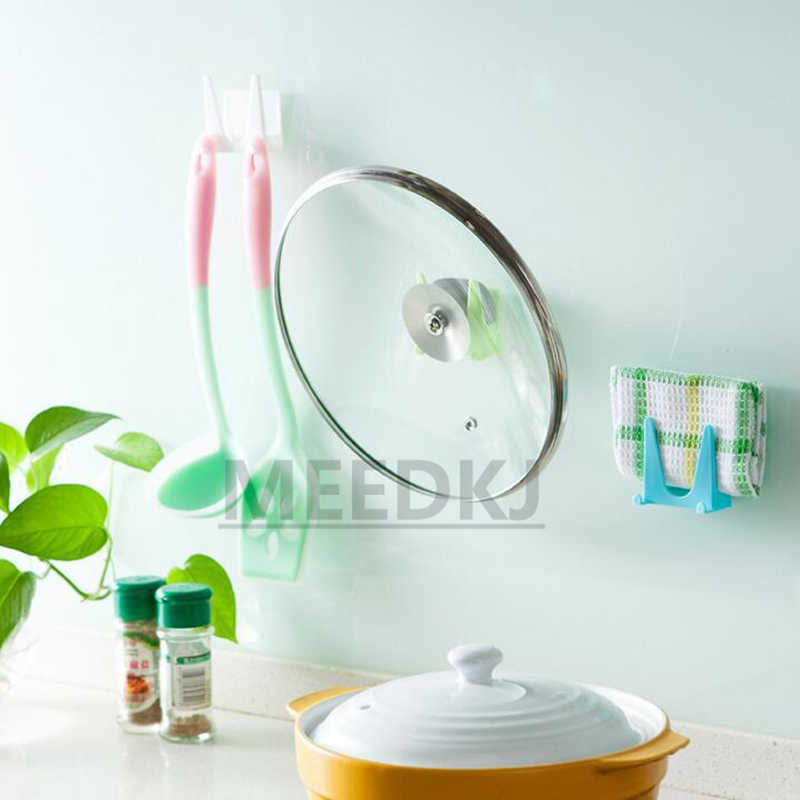 1 adet duvar kahya plastik mutfak tencere kabuk kapak yağ araçları standı mutfak çift taraflı yapıştırıcı çok amaçlı sünger depolama