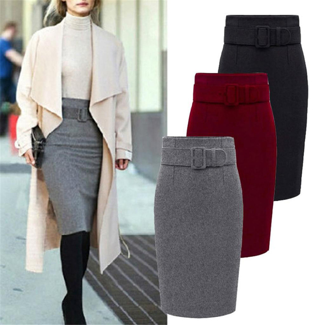 Women's Winter Warm Straight High Waist Skirts 2019 Fall Bodycon Pencil Long Skirts Plus Size S-3XL Female Elegant Slim Skirts 1