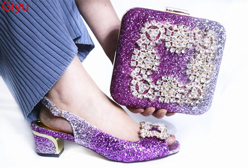 Doershow Fashion Shoes And Bag Set African Sets Purple Color Italian Shoe Bag Set Decorated With Rhinestone High Quality!SLP1-17