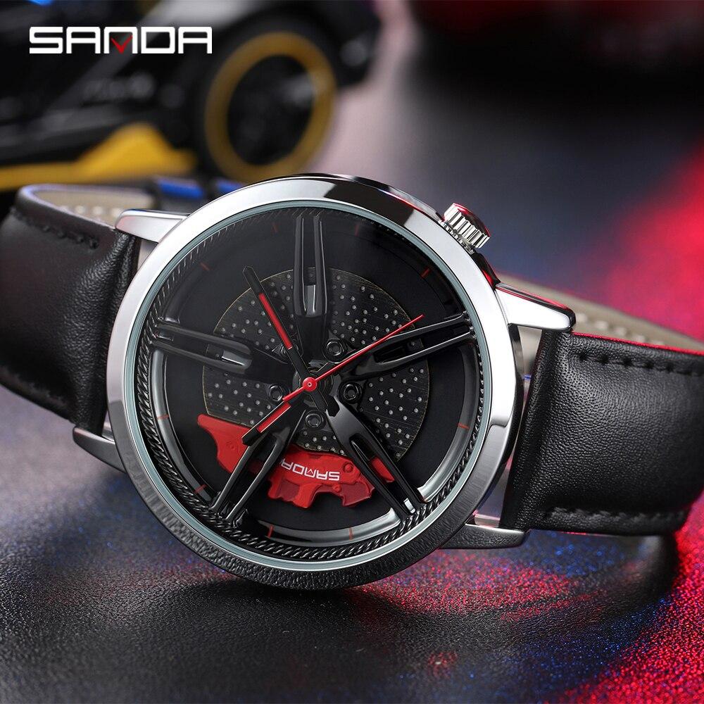 Image 5 - SANDA Top Brand Fashion Men Watch Premium Quartz Movement Wheel Wristwatch Leather Strap Life Waterproof Gifts Montre Homme 1040Quartz Watches   -